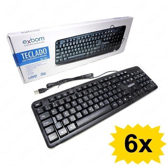 Kit 6x Teclado Usb C/ Fio Preto Abnt2 107 Teclas Computador
