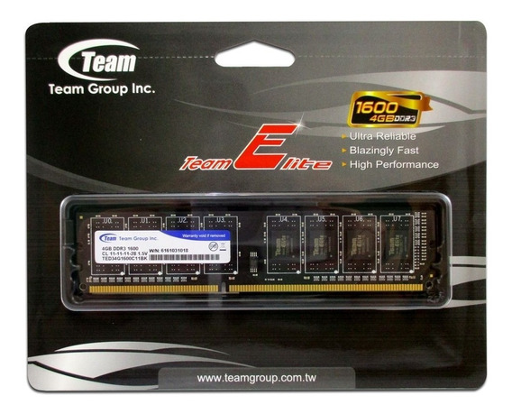 Memoria 4gb Ddr3 1600 Desktop Ted34g1600c11 Team Group