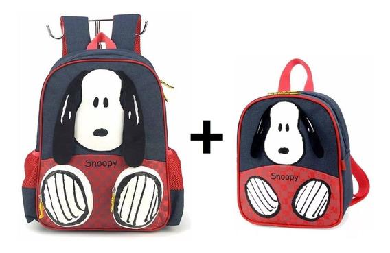 Kit Mochila Escolar + Lancheira Snoopy 3d Infantil - Luxcel