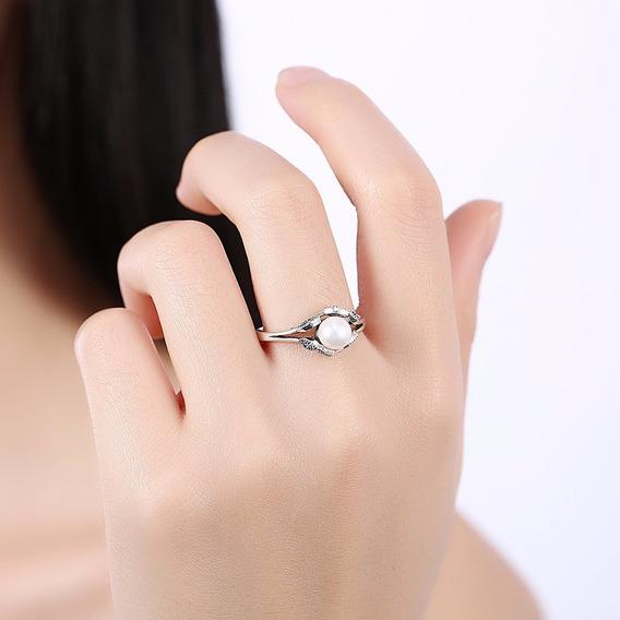 Anillo Chapeado Con Perla Y Cristales De Adorno