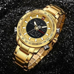 Relógio Naviforce Luxo Masculino Grande Original Todo Em Aço