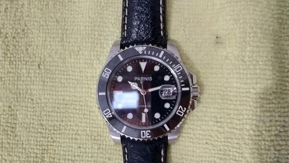 Relógio Parnis Pulseira De Couro De Búfalo