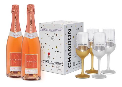 Kit 2un Espumante Chandon Passion Rose 750ml + Box 4 Taças