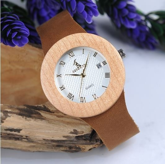 Relógio Feminino Bambu Madeira Bobo Bird Calendar C06 Lindo