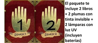 2x1 Diario 1 + 2 Gravity Falls + 2plumas + 2 Lámparas Luz Uv