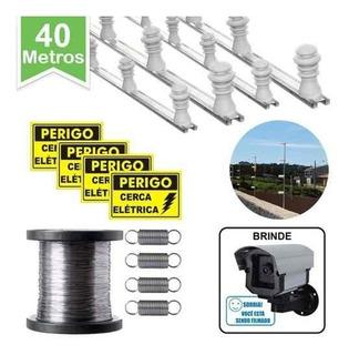 Kit P/ Cerca Elétrica 40 Metros Muro C/ Câmera Falsa Brinde