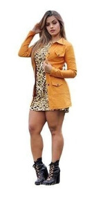 Camisa Feminina Estilo Parka Tecido Bengaline Com Fechamen