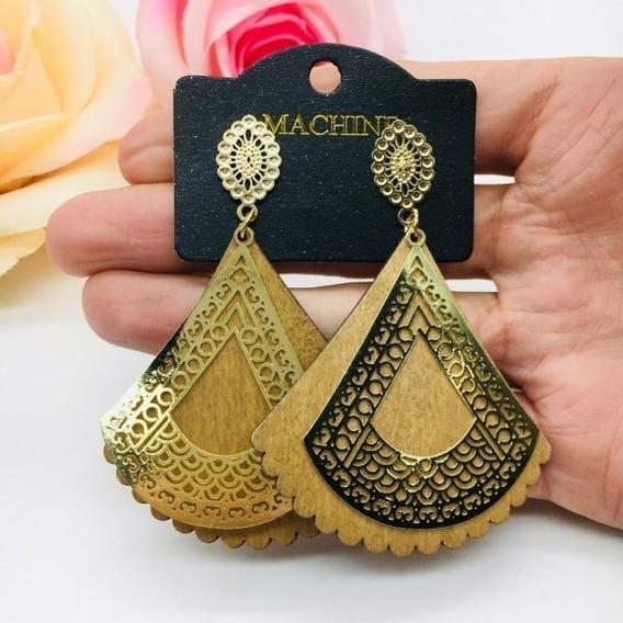 Max Brinco Elite Madeira Clara E Metal Triangular Biju