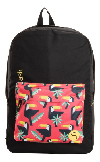 Morral Unicolor Con Bolsillo Estampado Para Damas Ask Gpbk10