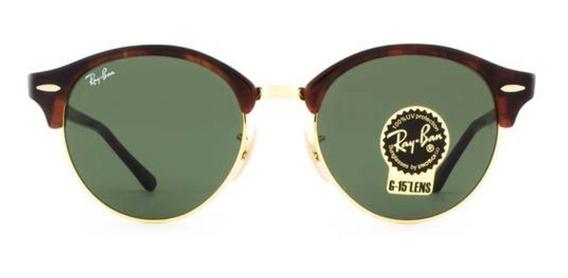 Óculos De Sol Rayban Clubround Classic Dourado E Preto
