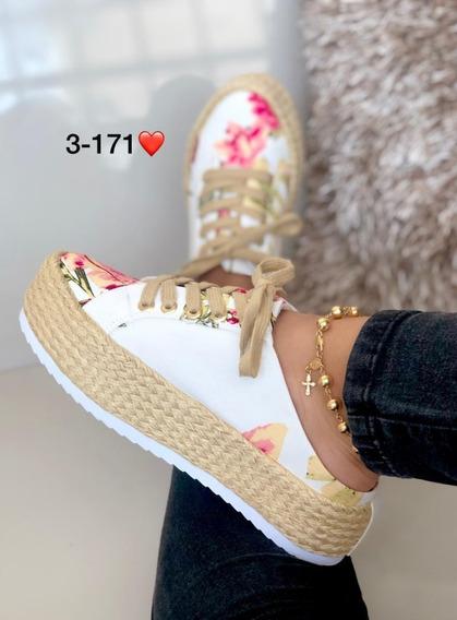 Zapato De Dama Estampado En Flores Diseño Unico