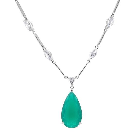 Colar Luxo Verde Esmeralda Folheado Ródio Prata