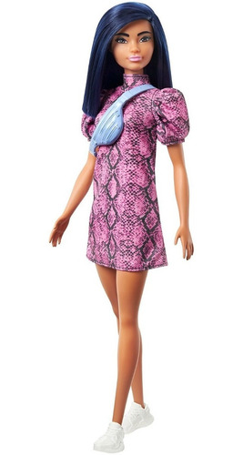 Imagen 1 de 2 de Barbie Fashionista 143 Pelo Azul Vestido Rosa Negro - Nueva