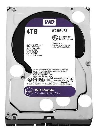 Hd Wd Purple Surveillance Dvr 4tb 64mb Wd40purz Intelbras