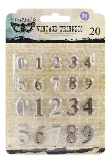 Números Metálicos Vintage Trinkets X 20 Unidades Prima Marke