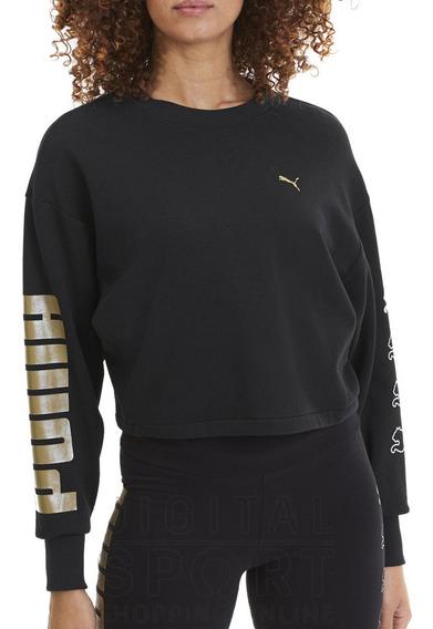 Buzo Puma Rebel Crew Sweat Mujer Negro/dorado Moda