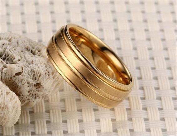 Anel Aliança Aço Dourada Casamento Noivado Presente