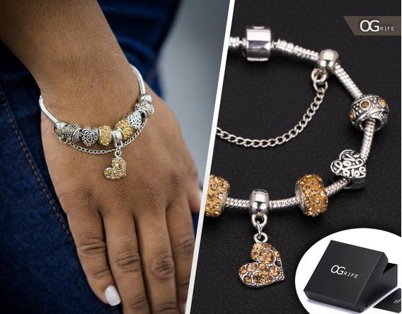 Pulseira Bracelete Feminino Aço Inox J-252 Estilo Pandora