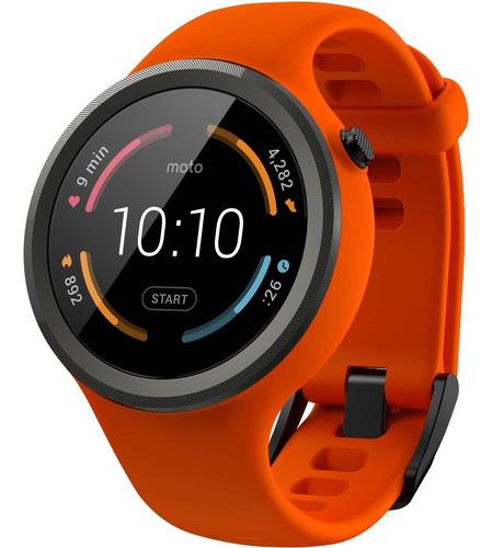 Motorola Moto 360 Smartwatch 45mm Sport Correa Goma Naranja