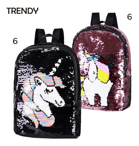 Mochila Escolar Trendy Unicornio Lentejuelas Reversibles