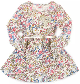 Vestido Bebê Floral Off White - Brandili Tam 1 Ao 3