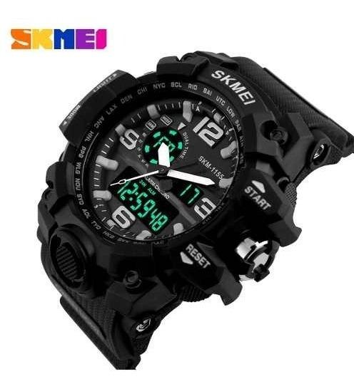 Relógio Skmei 1155 Masculino Anadigi Pulseira De Silicone