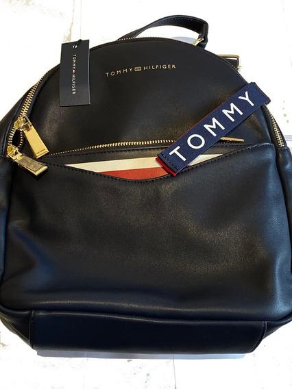 Hermosa Mochila Tommy Hilfiger Cuero Azul , Traida De Usa
