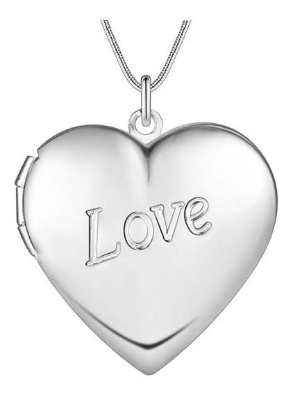 Coração Relicário Banhado Á Prata Para Seu Amor