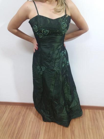 Vestido Longo Verde Musgo Longo Tafetá Todo Bordado G