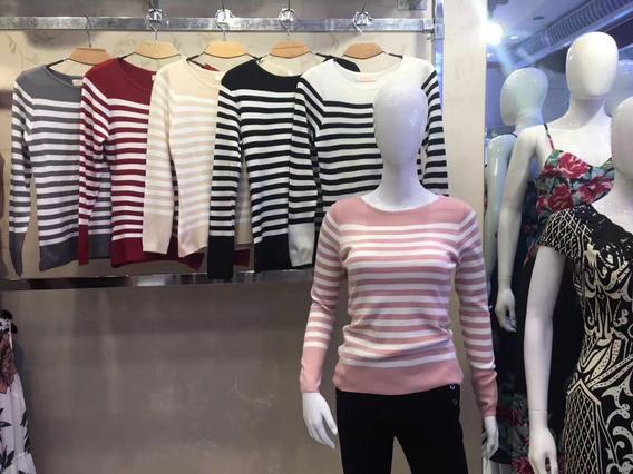 Blusa De Frio Casaquinho Femi Suéter Tricot Listrada Babado