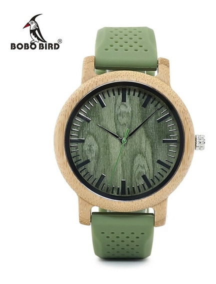 Relógio Feminino Bobobrid B06 Madeira P. De Silicone Verde