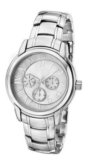 Relógio Feminino Ana Hickmann Todo Prata Original Ah30111q