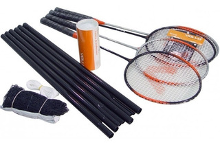 Kit De Badminton Com 4 Raquetes E 3 Petecas Vollo Vb004
