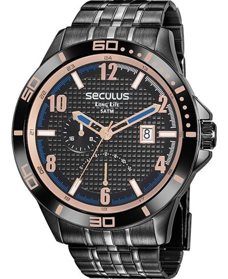 Relógio Seculus Masculino 35022gpsvpa2 Preto