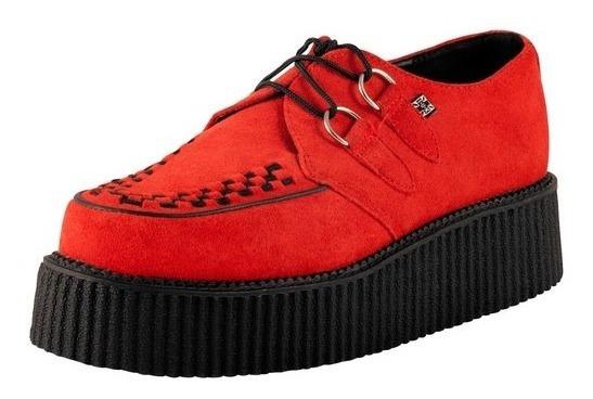 Zapatos Tuk A8056 Creepers Rojo Gamusa Demonia New Rock Punk