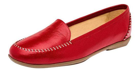 Zapato Piso Mujer Capricho Rojo Piel Cerrado D76938 Udt