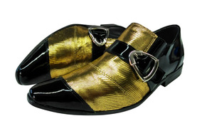 Sapato Masculino Em Couro Preto E Dourado Cod: 67