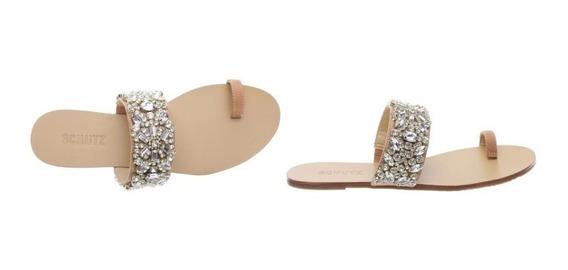 Sandalia Salto Rasteiro Com Pedras-schutz- Flat One Metalic