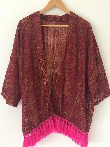 Kimono Saco Corto Semi Transparente Importado Music