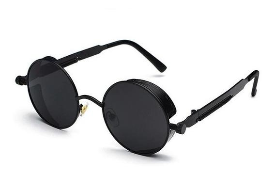 Óculos De Sol Redondo Steampunk Uv400 Masculino Feminino