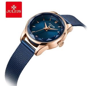 Reloj Julius Ja-1040 Mujer Dama Malla Tejida Acero