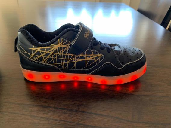 Zapatillas Negras Importadas C/ Luz N.33
