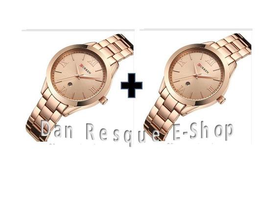 Kit 2 Relógios Curren 9007 Feminino Gold Sem Caixa