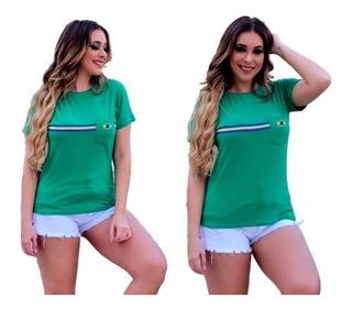 Camisa Blusa Feminina Copa Do Mundo Seleção Brasileira 2018