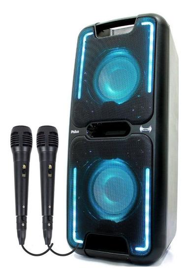 Caixa Amplificada Philco Pcx5501n 250w 2 Microfone C/ Fio