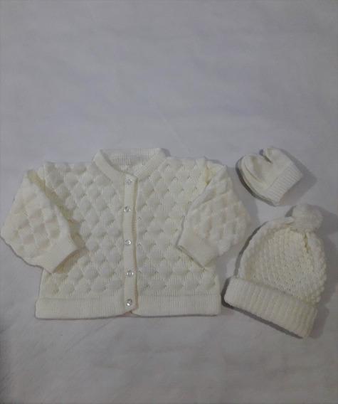 Casaquinho Clássico Touca Luvinha Bebê Menino Menina Ref.194