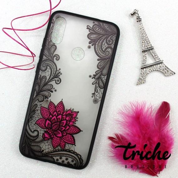 Funda Encaje Negro Flor Rosa Mandala Xiaomi Redmi Note 7