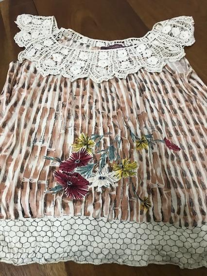Rapsodia Blusa Preciosa Algodón Y Crochet