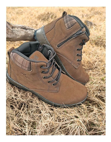 Bota Nord Outdoor Trail Masculina Em Couro Natural Casual