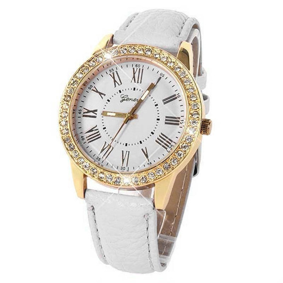 Relógio Feminino Geneva Branco Pedras Luxo Clássico